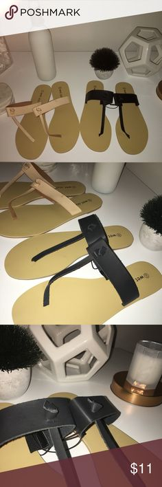 🆕 Wide Fit Sandals | Sold Together One pair of black and one pair Nude/beige wide fit sandals | Sold together | Never Worn Wet Seal Shoes Sandals