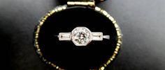 Style vintage 18 carats et diamant bague de fiançailles bague