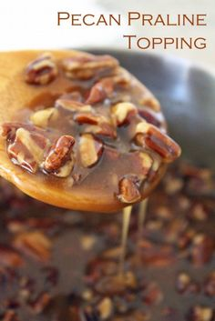 Pecan Praline Topping Recipe - Not just for Thanksgiving!  This is the perfect topping for ice cream, pie, pancakes, and more!
