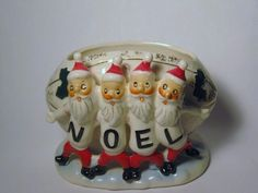 HTF Vintage Christmas NOEL Santa Claus College Sports Team Football Porcelain Planter Figurine Ornament Decoration Japan Shafford Candy Dish by BrilbunnySelections on Etsy https://www.etsy.com/listing/157198360/htf-vintage-christmas-noel-santa-claus