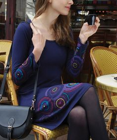 Love this Purple & Yellow Medallion Scoop Neck Dress on #zulily! #zulilyfinds