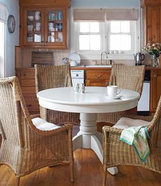 Tracy Reese ordered her kitchen's pedestal table from Ballard Designs—which now carries a version for only $399.