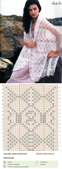 Pictures on request Shirley Paden Shawl - Daily Pratical Knitting Paterns, Knitting Charts, Lace Knitting, Knitting Stitches, Crochet Poncho, Knitted Shawls, Crochet Lace, Shetland, Shawl Patterns