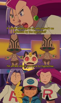 Pokemon- This concludes that Ash and Team Rocket are idiots What about Pikachu does this make him an idiot too? <----My Ash is an idiot. Mega Pokemon, Pokemon Funny, Pokemon Fusion, Pokemon Quotes, Pokemon Stuff, Pokemon Team Rocket, Pokemon Pictures, Funny Pictures, Satoshi Pokemon