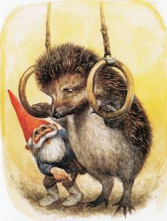 Vintage Art Print by Rien Poortvliet Gnome elf David hedgehog 80s