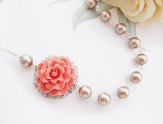 Rose and Pearl Bridal Necklace