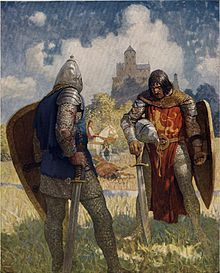 When Lancelot became one of the most famous knights of the Round Table, Elaine of Corbenic, daughter of the Fisher King, suddenly falls in love with him. She tricks him into believing that she is Queen Guinevere, and he sleeps with her, and the ensuing pregnancy results in the birth of Galahad. Guinevere hears of the affair and is furious, she criticizes him for his behavior and banishes Lancelot.