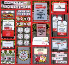 Fireman Birthday Invitation & Printable Party Decorations