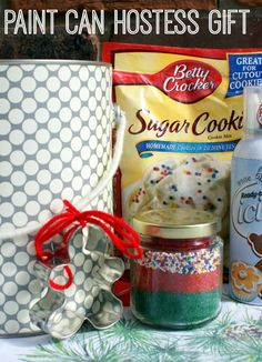 Paint Can Hostess Gifts - awesome gift ideas for your friends and neighbors with kids. Sugar Cookie Decorating Kit or Game Night! Fun and simple!