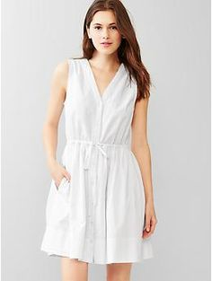 Dobby fit & flare shirtdress | Gap-- I love the continuing fit and flare trend. It's such a good style for so many people. This v-neck silhouette with the drawstring waist is spot on.