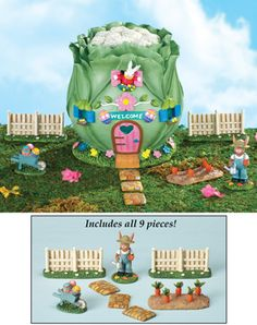 Easter Bunny Collectible Cabbage Garden Home - 9 pc