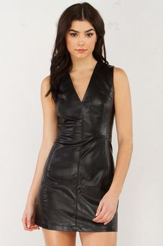 Front view Pleather Mini Dress in Black