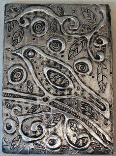 "Tree Bird  5 x 7"" FOLK ART Primitive Foil Relief ART PIECE ORIGINAL Karla Gerard..awesome new foil art piece..buy it now or make an offer... #FolkArtAbstractPrimitive"
