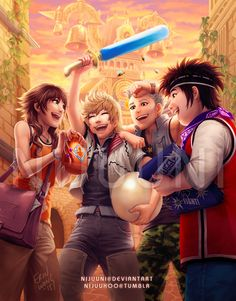 Ahh! Olette, Roxas, Hayner, and Pence