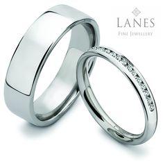 Platinum wedding rings.  Simple, elegant design.  Diamond set for the lady. See more in-store or go to http://www.lanesjewellers.com/diamond-set-wedding-rings.html #weddingrings