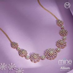 Pamper yourself during life's most memorable occassion with this striking diamond necklace with Allium inspired design seamlessly weaved… Gold Earrings Designs, Gold Jewellery Design, Necklace Designs, Diamond Necklace Set, Diamond Jewelry, Gold Jewelry, Gold Necklace, Fashion Necklace, Fashion Jewelry