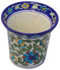 Blue Off White Hand Painted Fl Motifs 5 For Indoor Outdoor Herb Plants At Unbeatable Price From Bulk Distributors Decorative Plant Pots