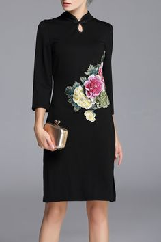 Lifver Black Embroidered Floral Cheongsam Dress | Knee Length Dresses at DEZZAL