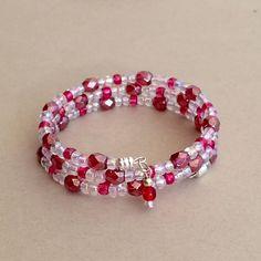 Браслет Красный браслет Красный браслет памяти провода Красный браслет из бисера Мульти Wrap Браслет Спираль Wrap браслет штабелях Спиральный браслет