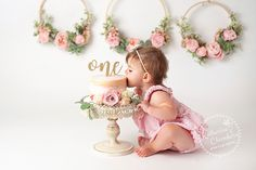 Cleveland Ohio Cake Smash Photographer, Katherine Chambers, Photographs one year Etta with a gorgeous floral cake smash set and crown. Baby Cake Smash, 1st Birthday Cake Smash, One Year Birthday Cake, 1st Birthday Photoshoot, 1st Birthday Party For Girls, Ideas Decoracion Cumpleaños, Fete Emma, Birthday Girl Pictures, Foto Baby