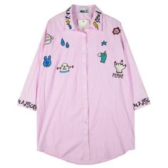 Chicnova Fashion Cartoon Embroidery Blouse (€24) ❤ liked on Polyvore featuring tops, blouses, comic book, pink blouse, embroidered blouse, cotton blouse и relaxed fit tops