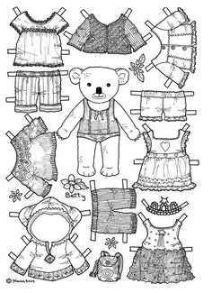 girl bear paper doll coloring page. Would be cute to use for a card for a little girl