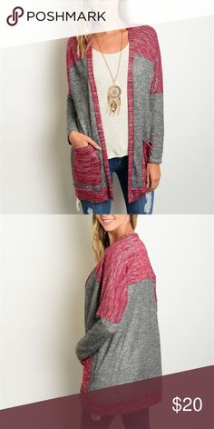 Light cardigan in grey and wine Light weight sweater cardigan. Super cute! Sweaters Cardigans