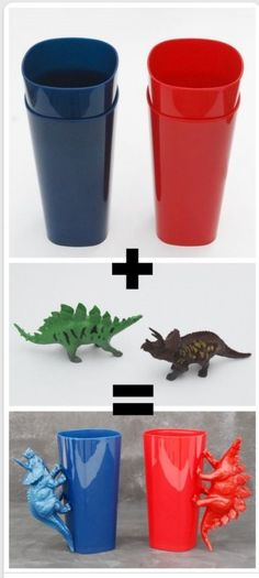 superglue animals/dinosaurs to cheap dollar store cups for handles and spray paint
