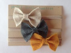 Oatmeal Charcoal Mustard Felt Bows (Set of 3), Felt headband, Nylon Headband, Infant Headband, Bow Headband, Baby Headband by PrettyLittlePearTree on Etsy https://www.etsy.com/listing/216819342/oatmeal-charcoal-mustard-felt-bows-set
