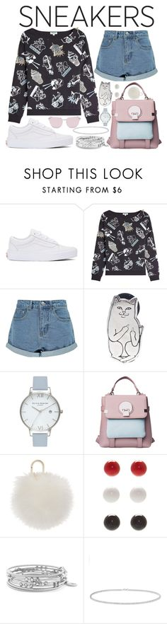"""""""White Sneakers - Cartoon Madness"""" by rita8100 ❤ liked on Polyvore featuring Vans, Kenzo, Boohoo, RIPNDIP, Olivia Burton, Yves Salomon, Kim Rogers, Jessica Simpson, Anne Sisteron and Le Specs Luxe"""