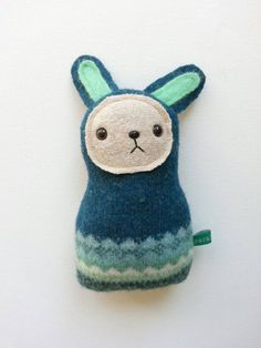 Teal Bunny / upcycled Easter bunny rabbit plush toy by sarahbrown