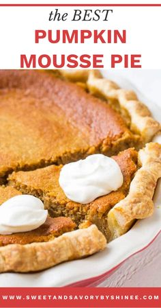 This is the best fall recipe, I will show you how to make this pumpkin pie from scratch! Not your traditional pumpkin pie here. Extra tall filling and incredibly light texture of this pumpkin mousse pie make this pie a winner! It'll be your next family favorite pie! Great for Thanksgiving and Christmas dessert! Christmas Recipes Dinner Main Courses, Thanksgiving Dinner Recipes, Low Carb Dinner Recipes, Vegetarian Recipes Easy, Pumpkin Pie Recipes, Tart Recipes, Baking Recipes, Fun Desserts, Delicious Desserts