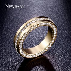 Newbark 백금 도금 결혼 반지 포장 채널 설정 3 행 큐빅 지르코니아 패션 반지 남성 보석