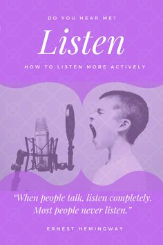 If you need some practical ideas of how to improve your listening skills, this post is for you. Listening Skills, Ernest Hemingway, People Talk, Personal Development, Improve Yourself, Coaching, Reading, Life, Ideas