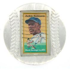 Jackie Robinson Genuine US Postage Stamp Baseball Paperweight