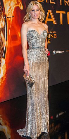 ELIZABETH BANKS We have a big problem with this Elie Saab gown: that it would have been absolutely perfect for the Oscars. But Elizabeth breaks out the sparkling sweetheart silver design, which fits as if the dress was made for her, for the Berlin premiere of The Hunger Games: Catching Fire. jaglady
