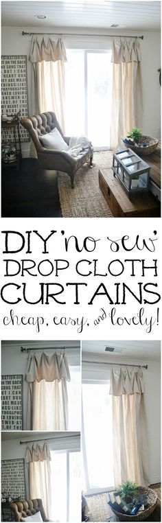 Curtains & Some DIY No-Sew Curtains DIY No-Sew Drop Cloth Curtains - The cheapest & easiest DIY curtains ever!DIY No-Sew Drop Cloth Curtains - The cheapest & easiest DIY curtains ever! No Sew Curtains, Drop Cloth Curtains, Window Curtains, Bedroom Curtains, Diy Bedroom, Shower Curtains, Trendy Bedroom, Bedroom Small, Kitchen Curtains