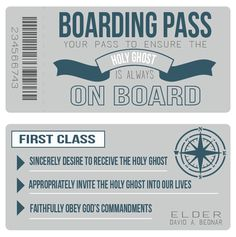 Boarding Pass - ensure that the Holy Ghost is always on board #LDS