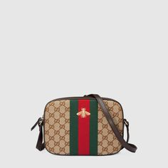 535a9fdccd28 Original GG Canvas Shoulder Bag by Gucci. Gucci beige ebony original GG  canvas shoulder bag with leather trim. Embroidered gold bee on our  signature wool ...
