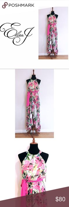 ❤️NEW❤️Eliza J Floral High Low Dress Floral Print chiffon high low dress from Eliza J. Perfect for any occasion. Comes with pink satin belt attached. Eliza J Dresses High Low