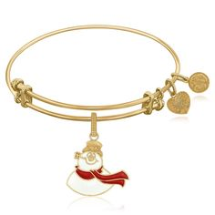 Expandable Bangle in Yellow Tone Brass with Frosty The Snowman Symbol