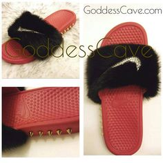 7f86069c763ef Varsity Red Nike Slide with Black Faux Fur
