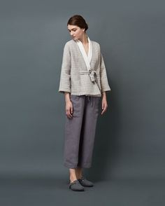 Pull-on trouser with easy, cropped wide legs, in supple and weighty garment-dyed linen. Two pockets. Toast Uk, Jacket Pattern, Cashmere Wool, Sewing Patterns Free, Sewing Clothes, Simple Outfits, Lounge Wear, Flannel, Trousers