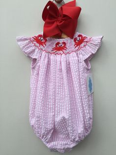 Baby Girls Smocked Pink Seersucker Crabs Angel Sleeve Bubble MBL 7 by lii Traditions