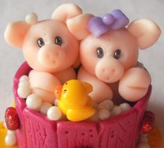 Piglets In Bathtub in clay