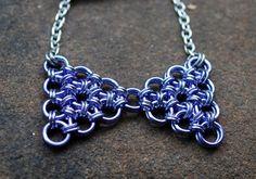 Kawaii Lavender Bow Tie Pendant by GeekyGaeaDesigns