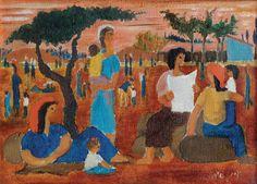 Yochanan Simon - Figures in the Kibbutz, Oil on canvas, 24.5X33 cm.