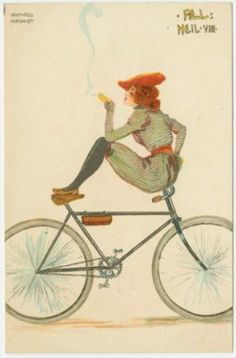 Woman smoking on a bicycle, from the series All Heil