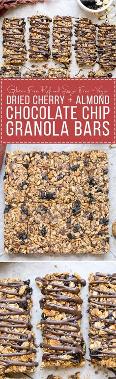 These no bake Dried Cherry, Almond + Chocolate Chip Granola Bars are ...