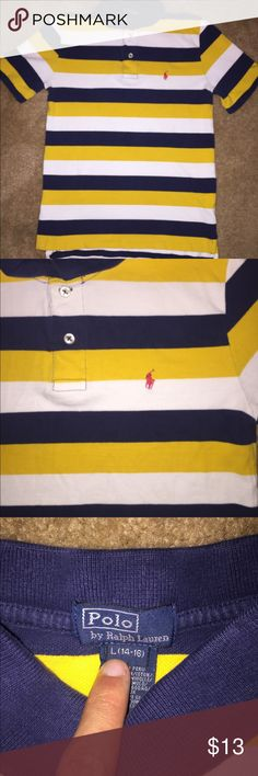 Polo Ralph Lauren Boys L Yellow, White, Navy 💪🏽 Size: Kids L (14-16), Color: Multi-Color, Design: Striped, Material: 100% Cotton, Measurements: See Pictures :)..  Excellent Condition 🔥 Smoke-Free Home 🏡 Polo by Ralph Lauren Shirts & Tops Polos